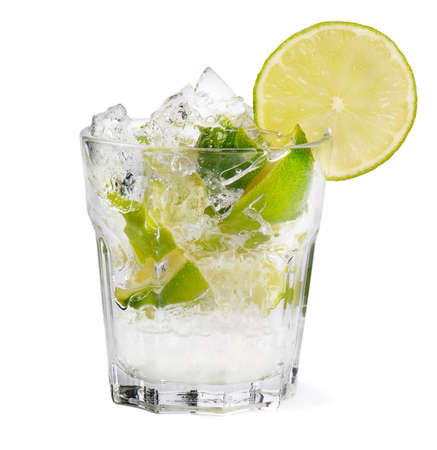 caipirinha: Fresh cocktail on white background Stock Photo