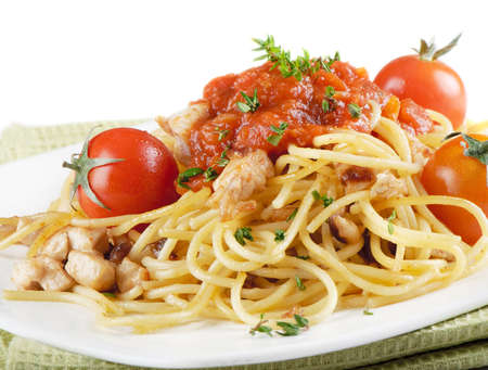 Italian pasta with vegetables photo