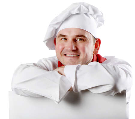 Smiling chef holding menu photo