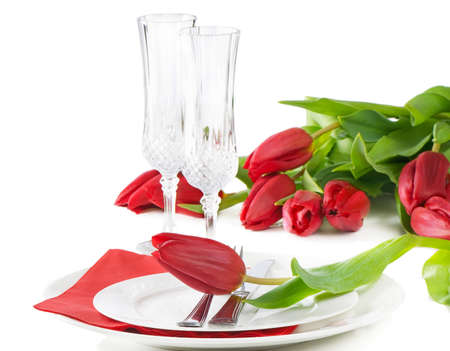 Fine table setting with tulip - Spring time photo