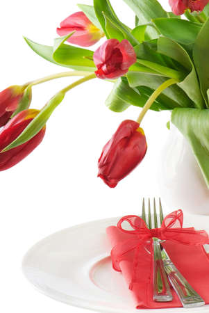 formal place setting: Fine table setting with tulip - Spring time. Isolated on white background