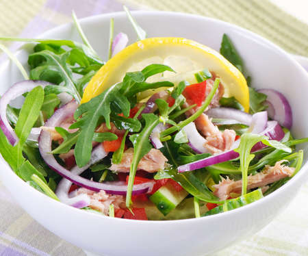 green and purple vegetables: Fresh salad Stock Photo