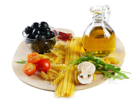 Italian cuisine - pasta, vegetables and olive oil isoltad on white background Stock Photo - 12538758
