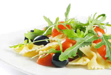 Pasta salad isolated on white Stock Photo