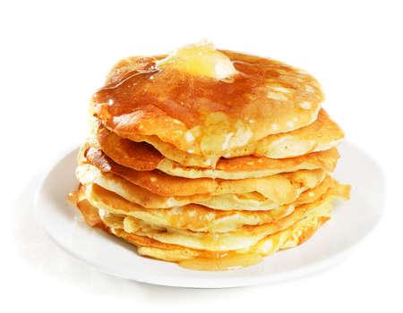 hot cakes: panqueques cubierto con miel Foto de archivo