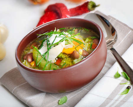 Bowl of vegetable Soup Stock Photo - 12825936