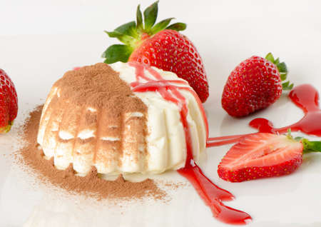 Dessert with cream and strawberries photo