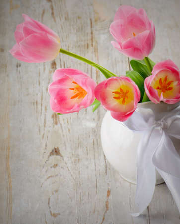 bouquet of the fresh pink  tulips  photo