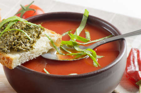 Tomato soup with tomatoes and bread Stock Photo - 13057345