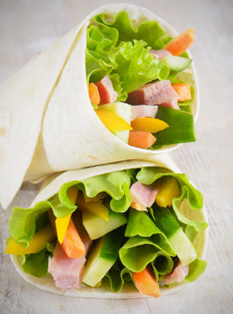 Sandwiches with  ham, lettuce and tomato Stock Photo - 13160432