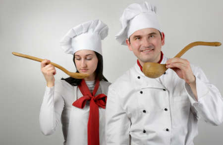 Two beautiful young chef photo
