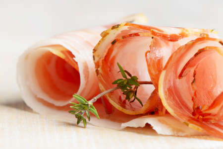 Slices of bacon and herbs Stock Photo - 13254906