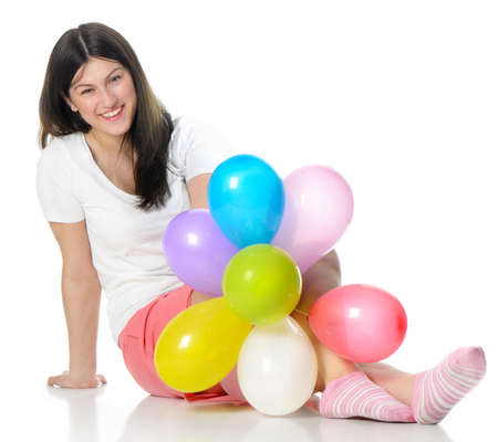 happy girl with balloons Stock Photo - 13617527