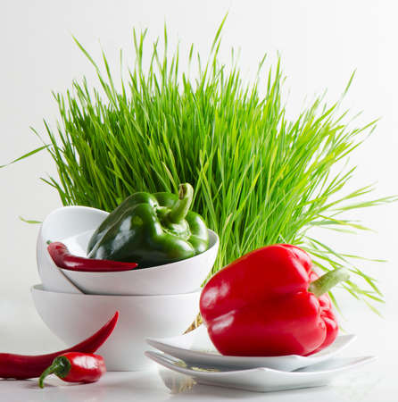 Healthy food - fresh pepper and Germinated Wheat seeds Stock Photo - 13658740