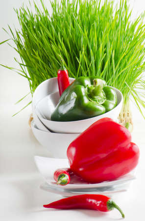 Healthy food - fresh pepper and Germinated Wheat seeds Stock Photo - 13658727