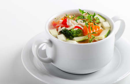 Bowl of Chicken vegetable Soup Stock Photo - 13658762