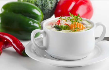 Bowl of vegetable Soup Stock Photo - 13658739