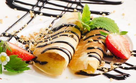 French crepes with chocolate sauce Stock Photo