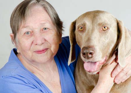 Senior happy woman and dog Stock Photo - 13983807