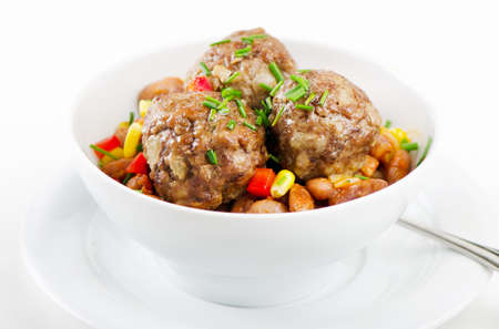 haricot:  Meatballs with haricot Stock Photo