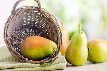 Fresh pears  in the basket  Stock Photo
