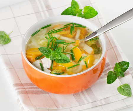 broth: Bowl of vegetable chicken  Soup