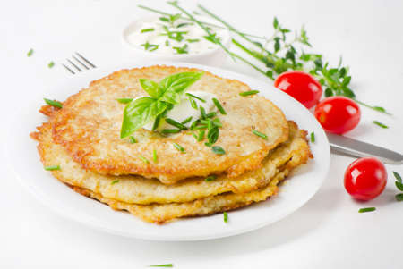 Potato Pancake with Sour Cream and herbs photo
