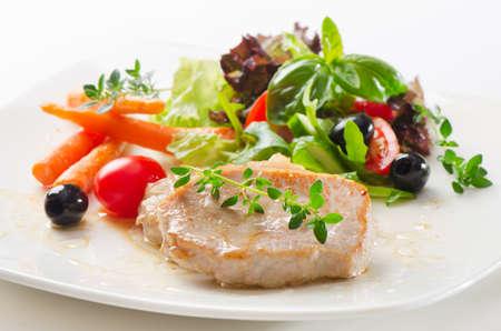 prepared food: Roast pork with vegetables