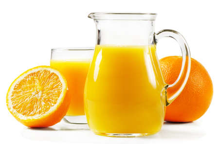 Orange and orange juice isolated on white Stock Photo