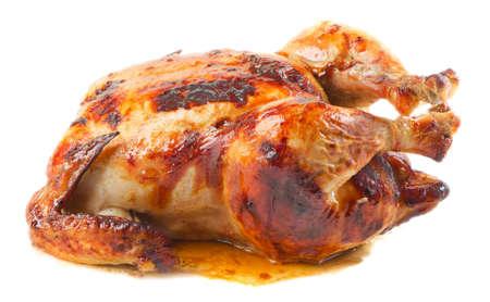 chicken roast: pollo asado aislado en el fondo blanco