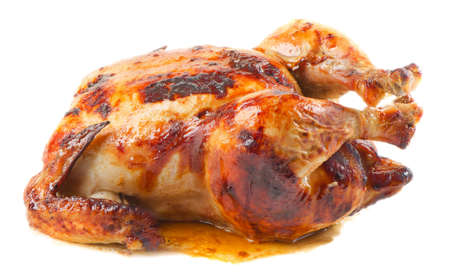 roast chicken isolated on white background photo