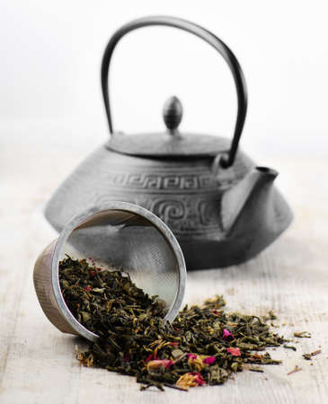 Green tea and teapot Stock Photo