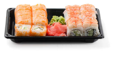 appetize: Sushi rolls, wasabi and ginger in container