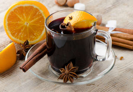 mulled wine with spices  and orange Stock Photo