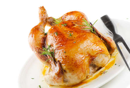 roast turkey: Roasted chicken isolated on white