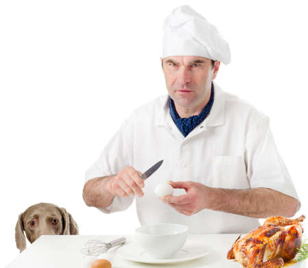 Chef  with   hungry dog  isolated  on white photo