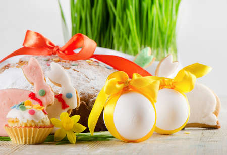 easter cakes, cookies  and eggs photo