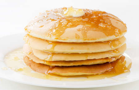 flapjacks: pancakes topped with honey