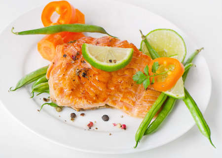 Grilled salmon and vegetables Stock Photo - 18656396