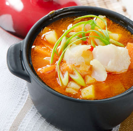 Fish Soup with vegetables  Selective focus Stock Photo