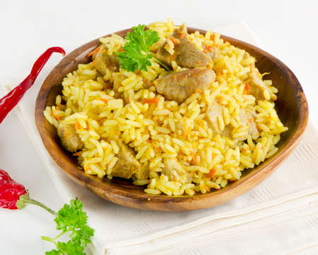 bowl of rice: rice with meat and vegetables
