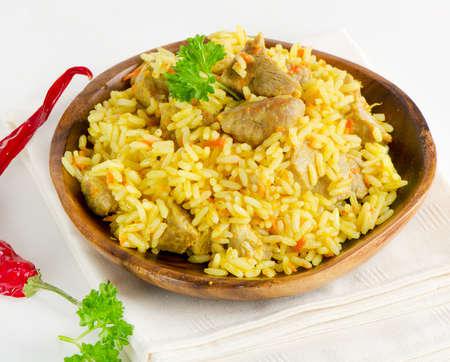 indian spices: rijst met vlees en groenten