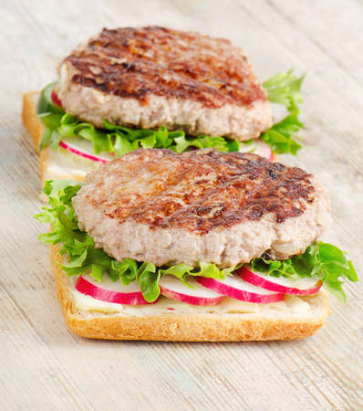chicken burger: Healthy sandwiches  of ground meat on bread. Selective focus