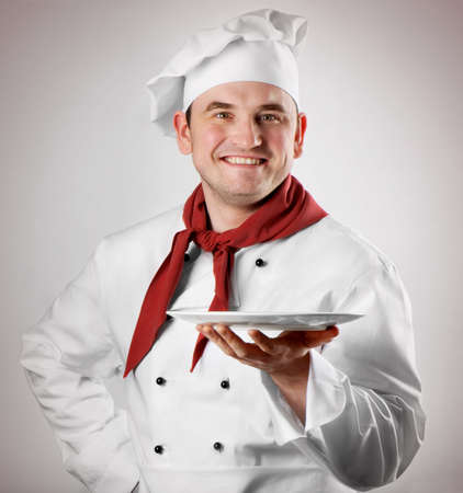 culinary chef: Chef showing empty plate