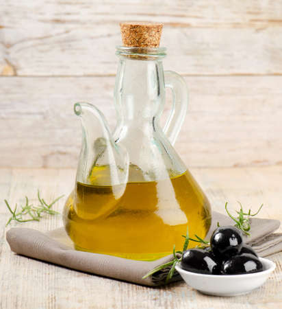 Olive oil and black olives  Stock Photo