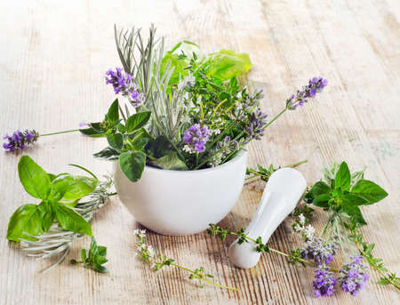 lavander: Fresh herbs on a wooden table
