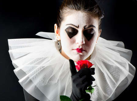 woman mime with red rose Stock Photo - 20852386