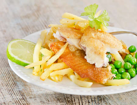 fish and chips. Selective focus photo