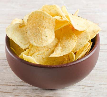 potato crisps: potato chips  Stock Photo