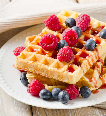 berry fruit: Waffles with berries Stock Photo